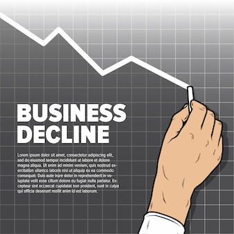 Businessmans main graphique de diminution de dessin. baisse des bénéfices et baisse des ventes