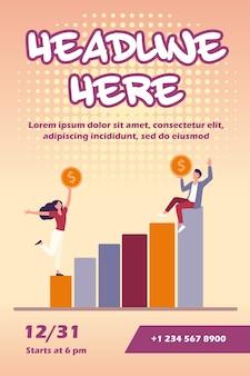 Businesspeople holding coin et modèle de flyer de profit croissant