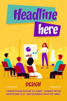 Businesspeople learning finance conférence avec illustration de l'entraîneur ou du conférencier