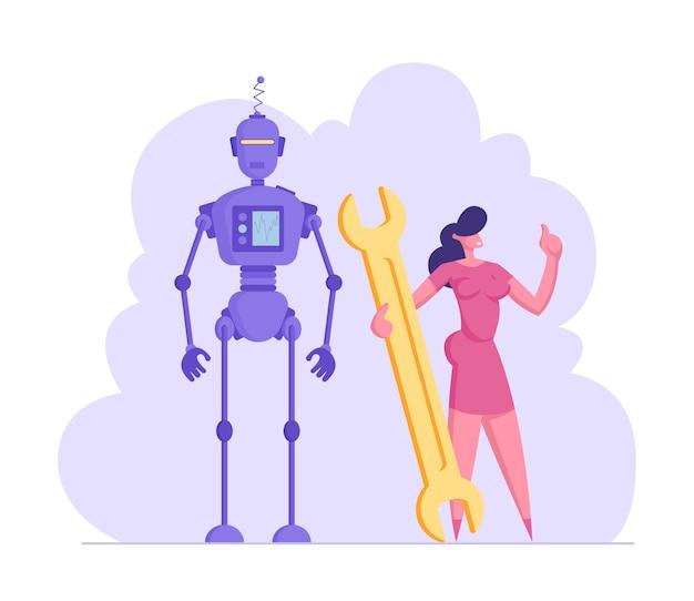 Businesswoman holding huge wrench stand près de la technologie futuriste de cyborg