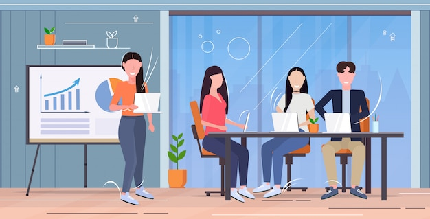 Businesswoman making présentation financière formation ou rapport de conférence aux hommes d'affaires brainstorming concept de travail d'équipe bureau moderne intérieur pleine longueur horizontale