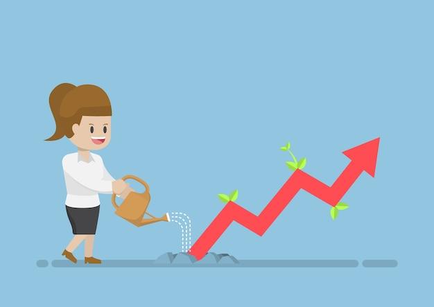 Businesswoman watering business graph que la croissance à travers le sol