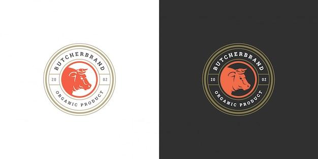 Butcher shop logo vector illustration bull head silhouette bon pour la ferme ou le restaurant badge