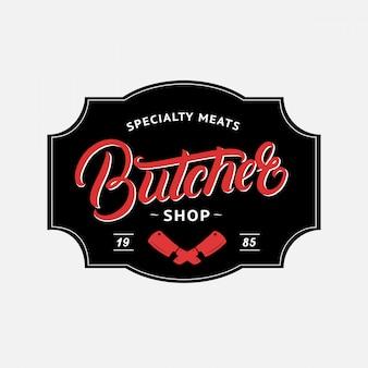 Butcher shop manuscrite lettrage logo