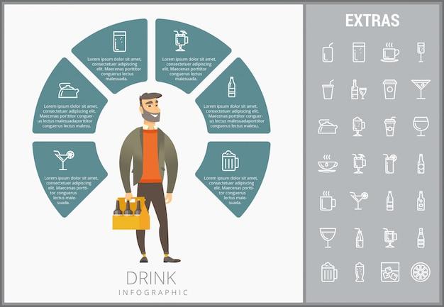 Buvez le modèle infographique, des éléments et des icônes