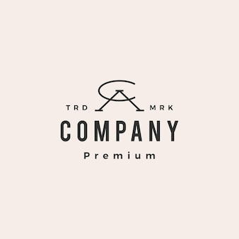 Ca lettre ac marque initiale logo vintage hipster