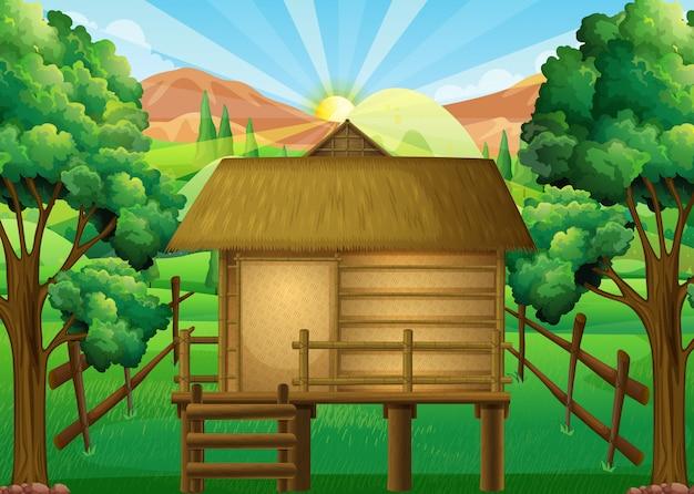 Cabane en bois dans la forêt