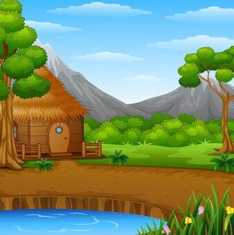 Cabane de bois de dessin animé dans le fond de paysage de montagnes