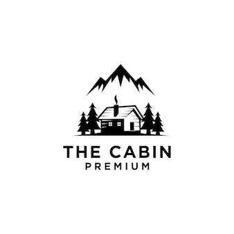 Cabane en bois haut de gamme et forêt de pins montagne rétro vecteur noir création de logo isolé fond blanc