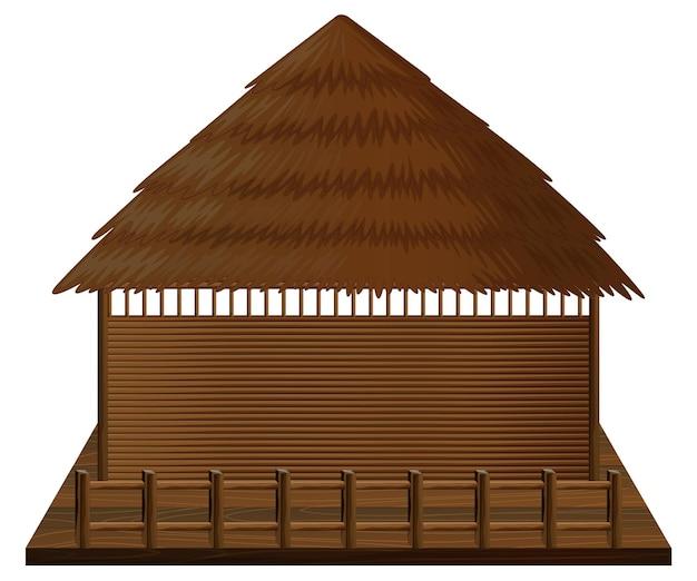 Cabane en bois sur radeau en bois