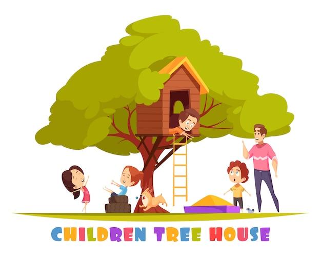 Cabane dans les arbres avec échelle suspendue, enfants joyeux et illustration de chiot
