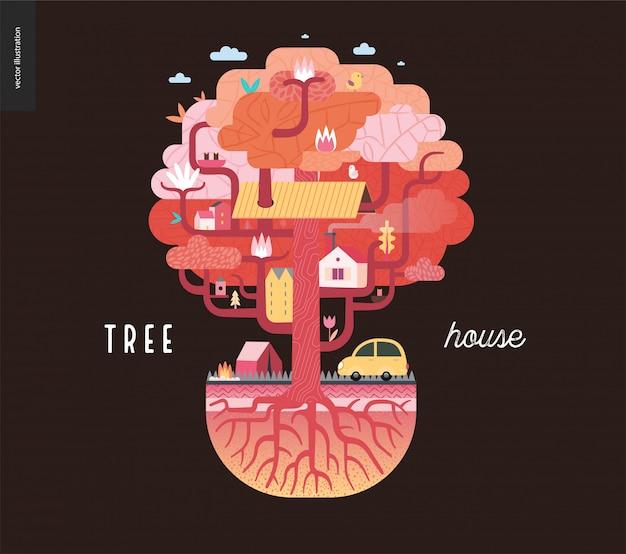 Cabane dans les arbres marron
