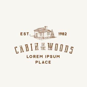 Cabane dans le signe abstrait des bois