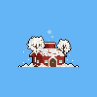 Cabane mignonne de dessin animé de pixel art avec arbre enneigé.