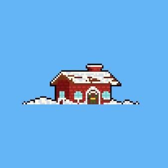 Cabane mignonne de dessin animé de pixel art avec de la neige.