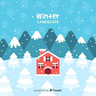 Cabane de paysage d'hiver