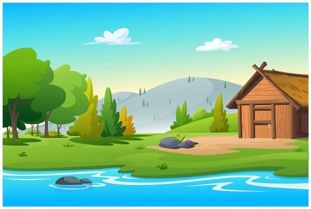 La cabane près du ruisseau dans la belle matinée.