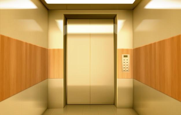 Cabine d'ascenseur dorée avec portes fermées à l'intérieur