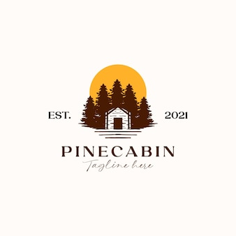 Cabine avec pine tree sunset logo template isolé