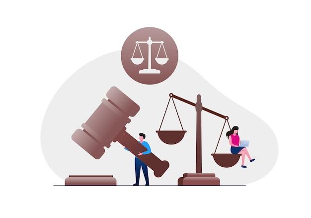 Cabinet d'avocats et bannière d'illustration vectorielle plane juridique et page de destination