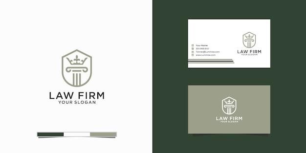 Cabinet d'avocats avec couronne, cabinet d'avocats, services d'avocat, logo de crête vintage de luxe, logo et cad entreprise
