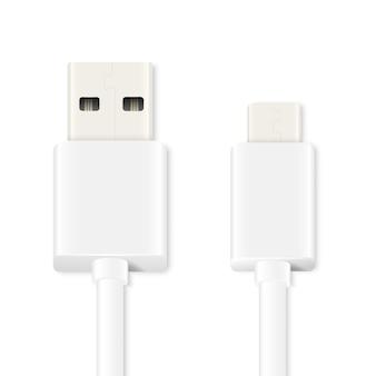 Câble micro usb isolé sur blanc