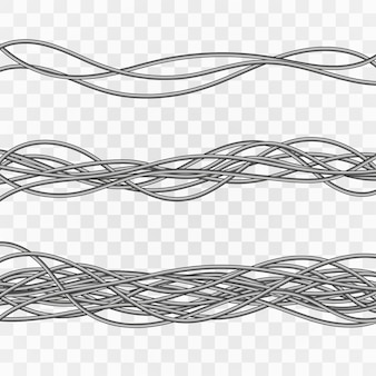 Câbles électriques. fils industriels gris. câble électrique sur fond transparent.