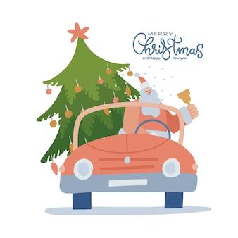 Cabriolet rouge vintage avec le père noël tenant la cloche à la main et le grand vecteur d'arbre de noël isolé f...