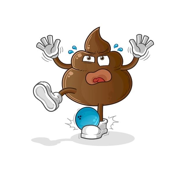 Le caca frappé par le dessin animé de bowling. mascotte de dessin animé