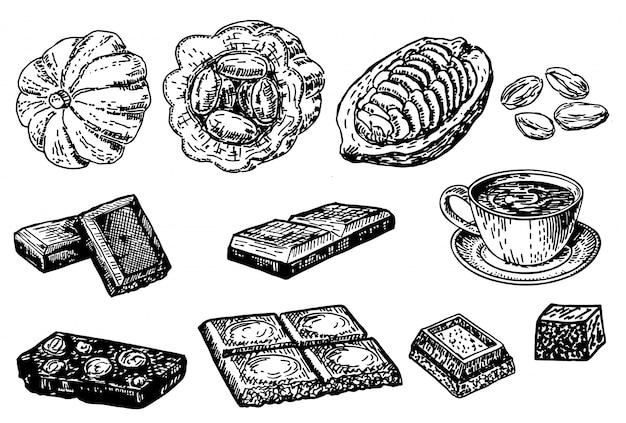 Cacao dessiné à la main, feuilles, graines de cacao, dessert sucré et barre de chocolat. collection de croquis de cacao.
