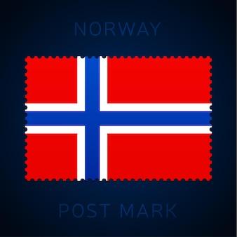 Cachet de la norvège. timbre-poste de drapeau national isolé sur illustration vectorielle fond blanc. timbre avec motif officiel du drapeau du pays et nom du pays