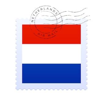 Cachet des pays-bas. timbre-poste de drapeau national isolé sur illustration vectorielle fond blanc. timbre avec motif officiel du drapeau du pays et nom du pays
