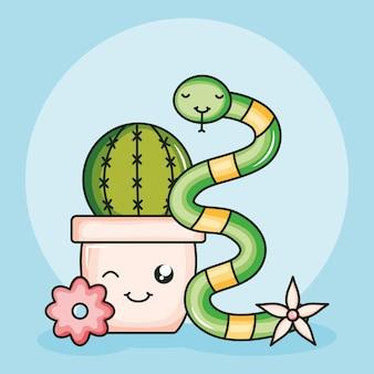 Cactu dans un pot en céramique et un serpent de style kawaii