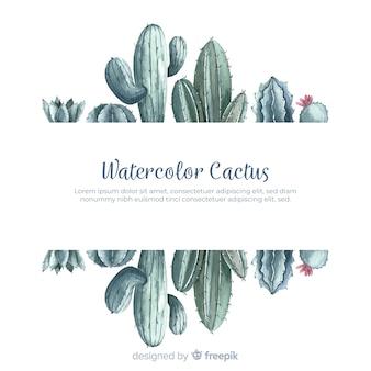 Cactus aquarelle avec bannière vierge