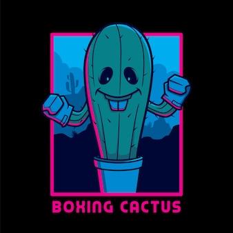 Cactus de boxe avec fond du désert de nuit prêt à imprimer pour le t-shirt et les autocollants