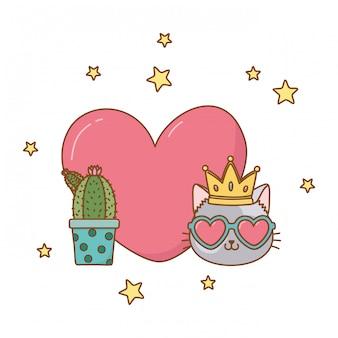 Cactus et chat avec coeur