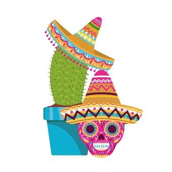Cactus et crâne avec icône de chapeau mexicain