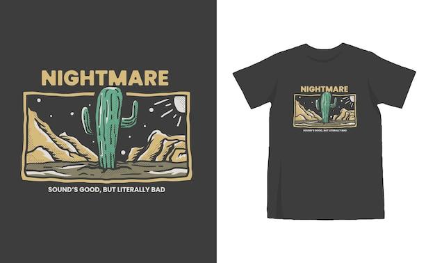 Cactus dans la conception de tshirt de l'ouest sauvage