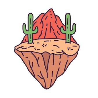 Cactus dans le désert badge monoline