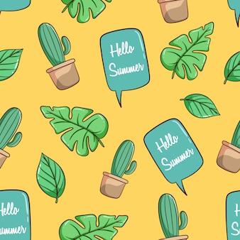 Cactus dessiné à la main, feuilles de monstera et modèle sans couture de chat bulle
