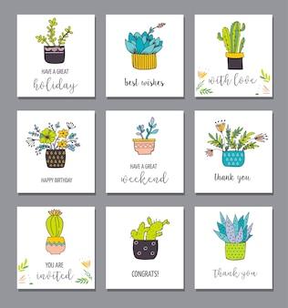 Cactus dessiné main mignon et ensemble succulent