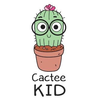 Cactus dessiné main mignon pour t-shirt
