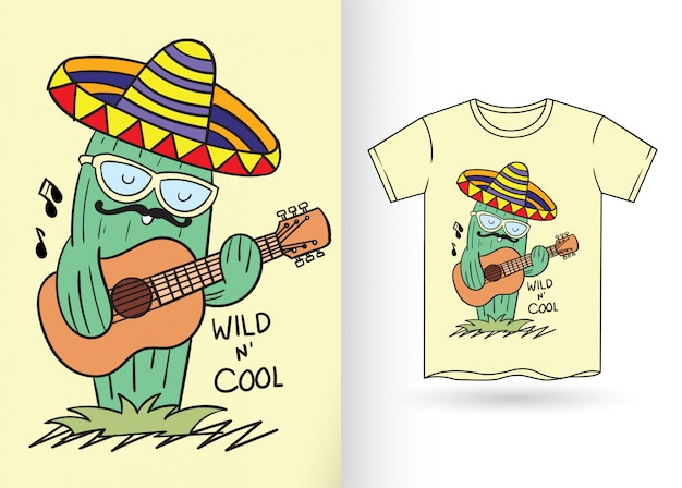 Cactus dessiné à la main pour la conception de t-shirt