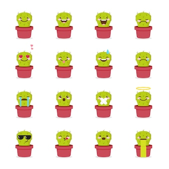 Cactus emoji icon set