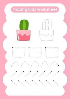 Cactus - feuille de travail pour l'écriture et le dessin de lignes de trace pour les enfants