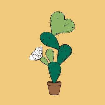 Cactus en fleurs avec coeur