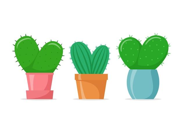 Cactus en forme de coeur dans un style plat cactus de maison mignons dans des pots colorés succulentes de maison