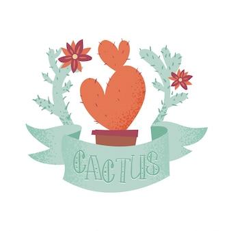 Cactus en forme de coeur mignon