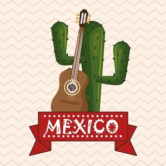 Cactus avec des icônes de la culture mexicaine