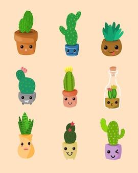 Cactus kawaii. ensemble de plantes succulentes ou de cactus kawaii.